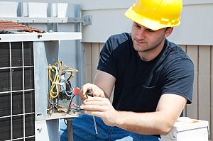 Electrical contractor at work